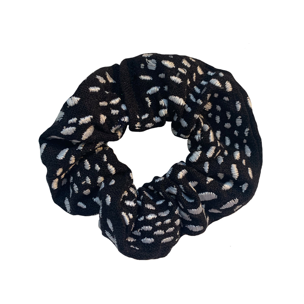 Black Scrunchie with White Spots