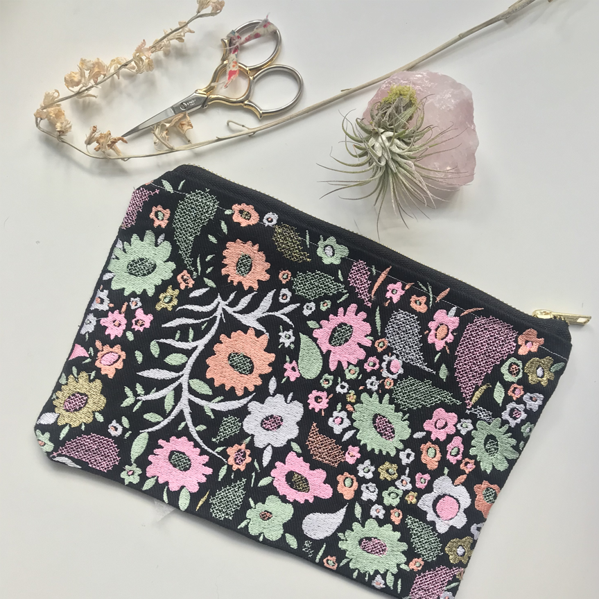 Embroidered Floral Paisley Pouch on Black Denim | Pastel Colorway | Large