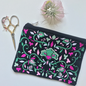 Embroidered Folk Floral Pouch | Gem Colorway | Small