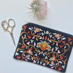 Embroidered Folk Floral Pouch | Poppy Colorway | Small
