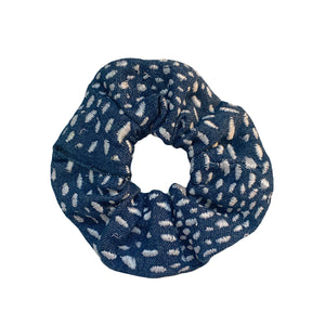 Denim Scrunchie with White Spots
