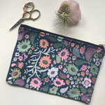 Embroidered Floral Paisley Pouch on Denim | Pastel Colorway | Large