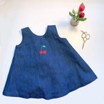 Denim Dress with Tie Back | Cherry