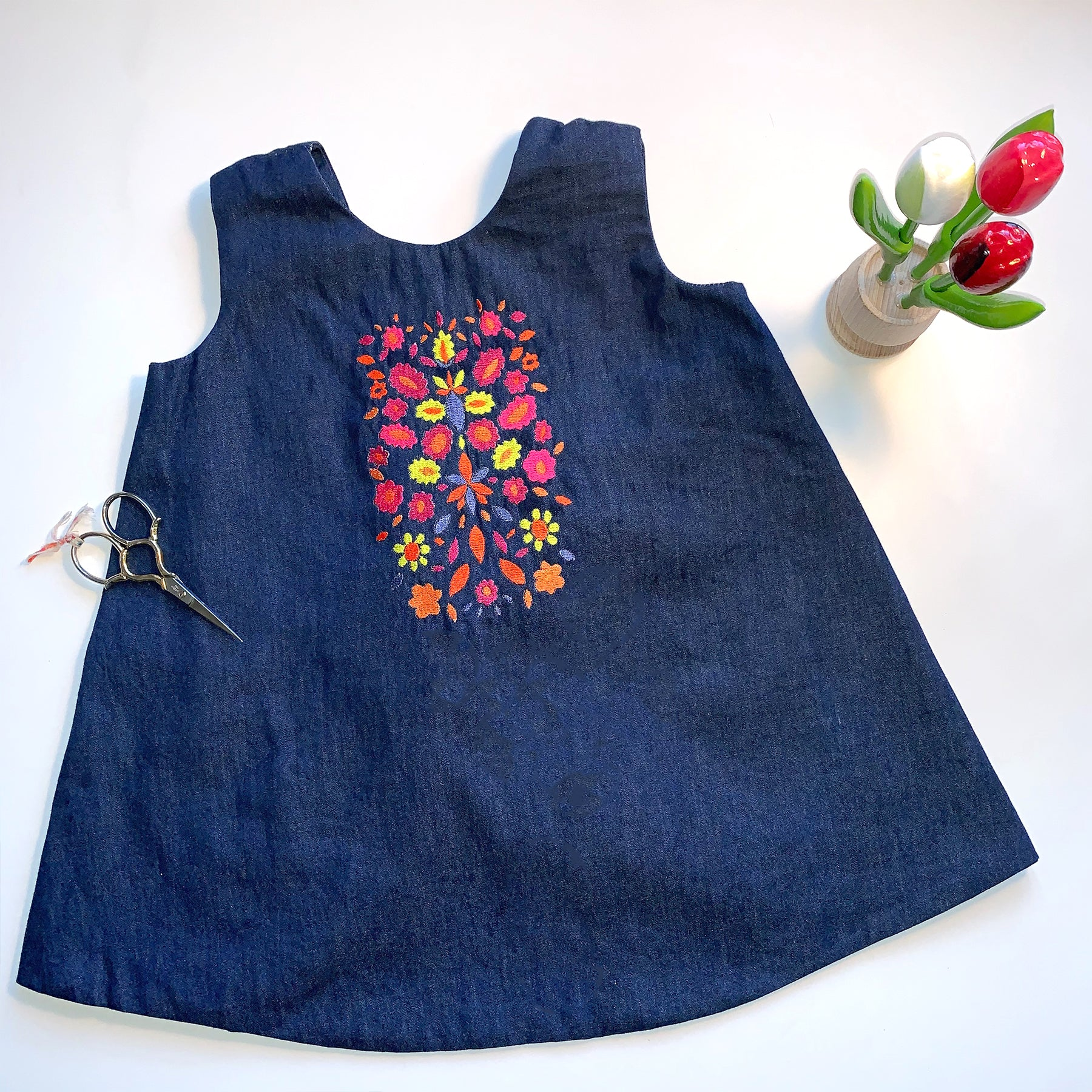 Denim Dress with Tie Back | Folk Garden