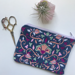 Embroidered Folk Floral Pouch | Iris Colorway | Small