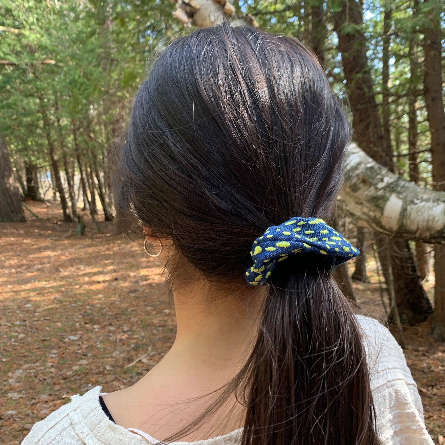 Denim Scrunchie with Lime Green Spots
