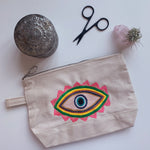 Embroidered Evil Eye Pouch on Cotton Canvas | Neon Colorway