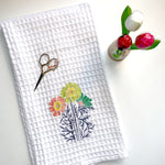 White Waffle Weave Towel | Classic Floral