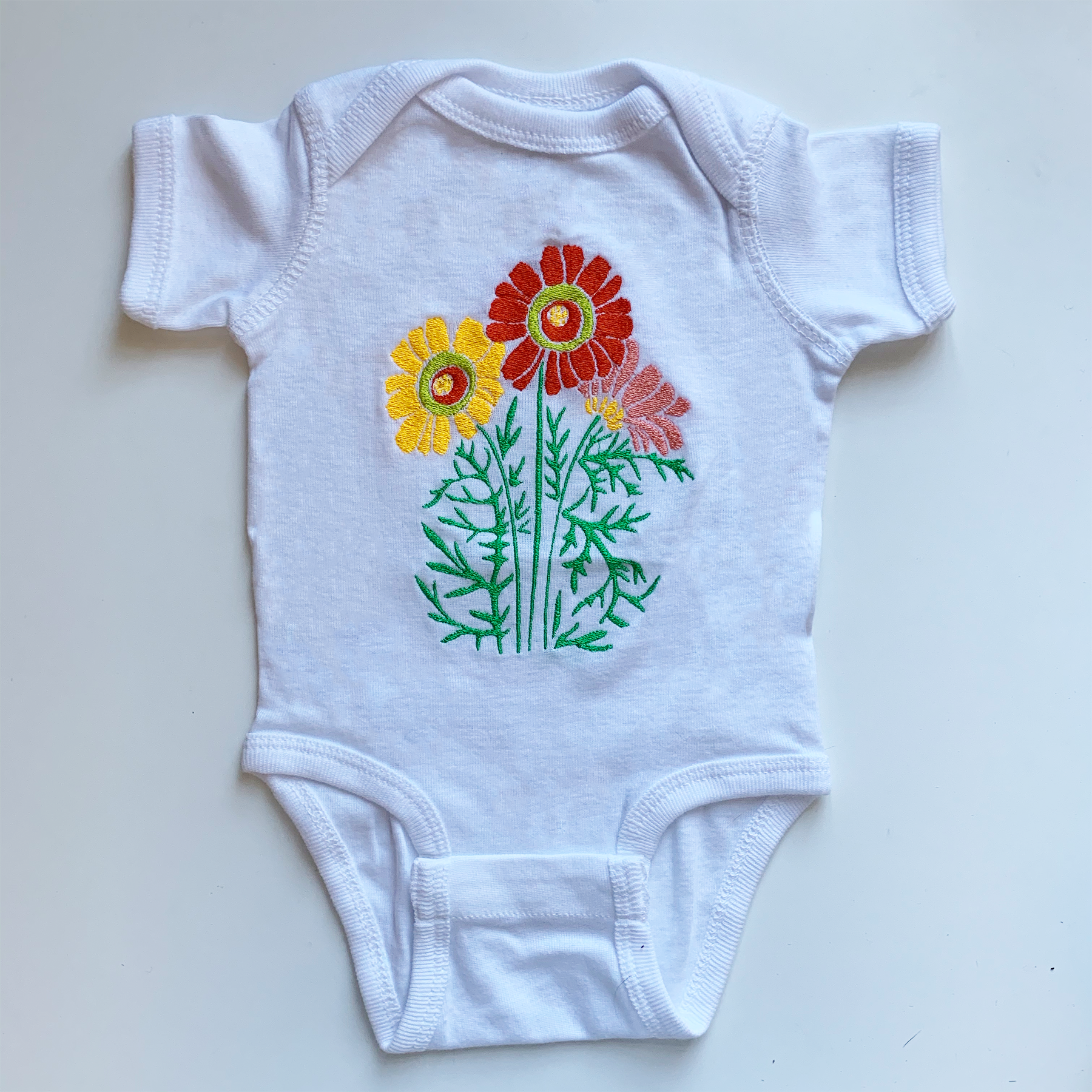 Flower Child Onesie | Red and Yellow Colorway