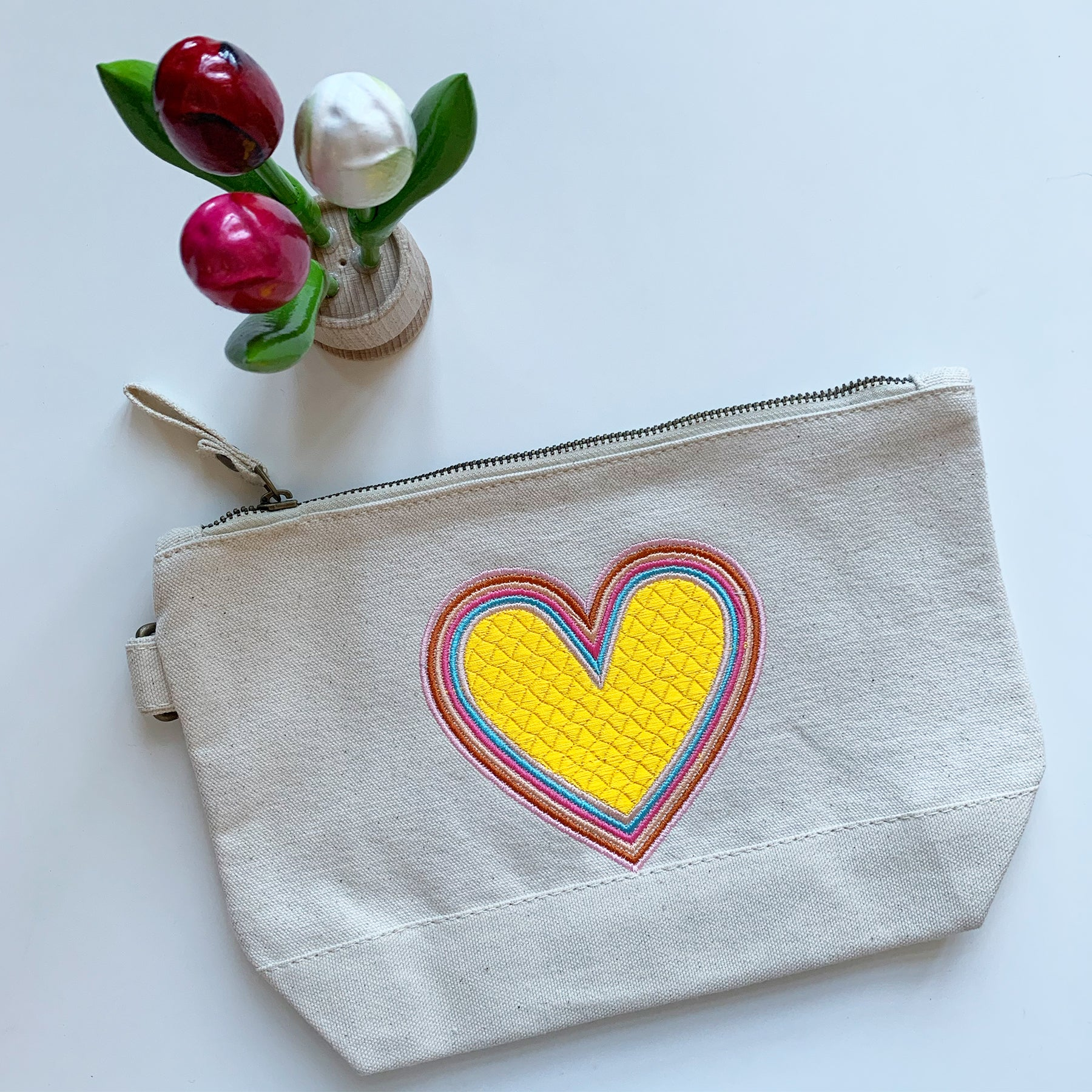 Embroidered Rainbow Heart Pouch on Cotton Canvas | Golden Colorway