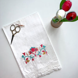 White Cotton Lace Towel | Folk Floral