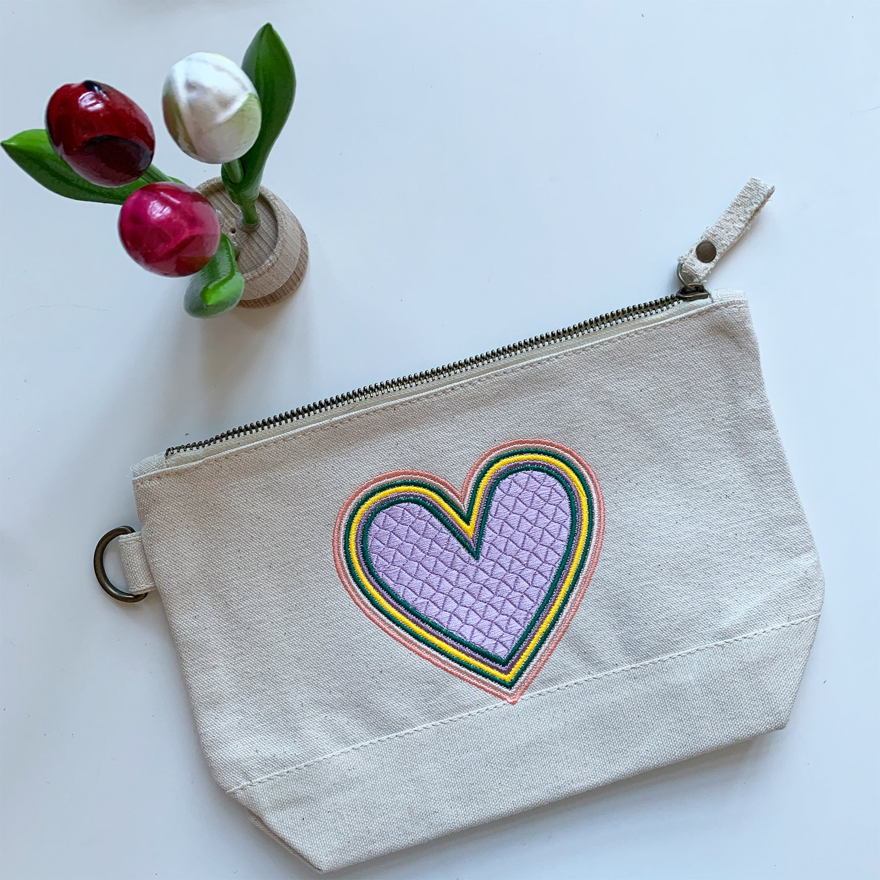 Embroidered Rainbow Heart Pouch on Cotton Canvas | Lavender Pouch