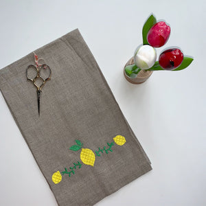 Nuetral Linen Towel | Lemoncello