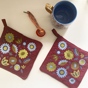 Pot Holder Set | Blue and Green Colorway