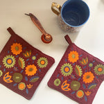 Pot Holder Set | Orange and Green Colorway