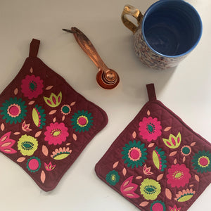 Pot Holder Set | Pink and Green Colorway