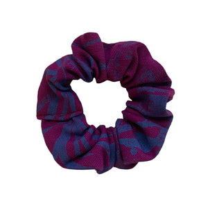 Purple and Teal Screenprinted Scrunchie