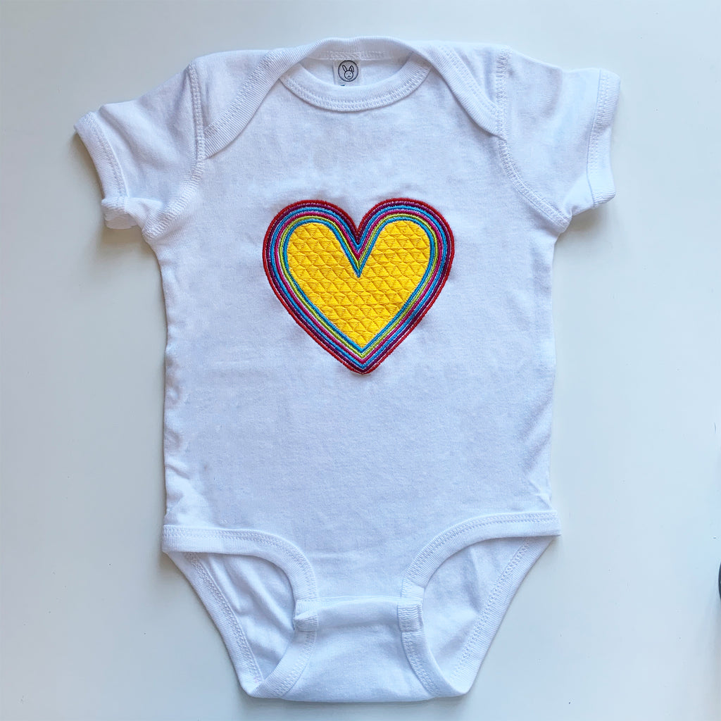 Rainbow Heart Onesie | Yellow Colorway