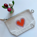 Embroidered Rainbow Heart Pouch on Cotton Canvas | Candy Red Colorway
