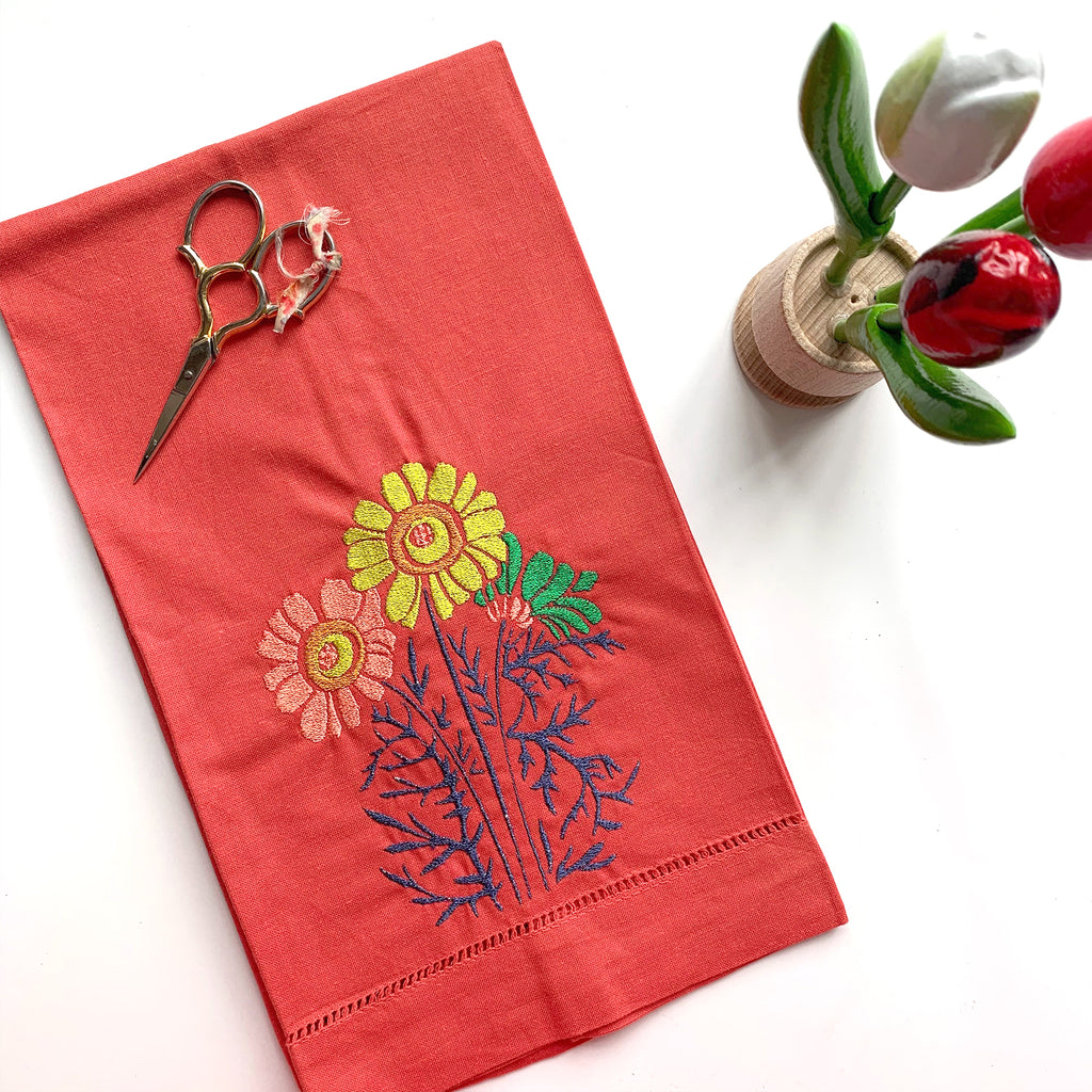 Red Linen Towel | Classic Floral