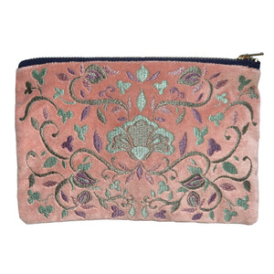 Embroidered Folk Floral Pouch | Rose Velvet Colorway | Small