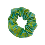 Turquoise and Green Screenprinted Scrunchie