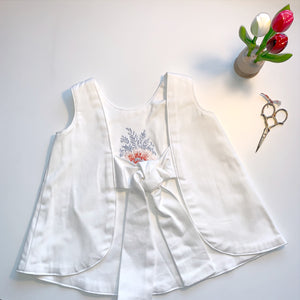 White Cotton Dress with Tie Back | Sri Lanka Floral