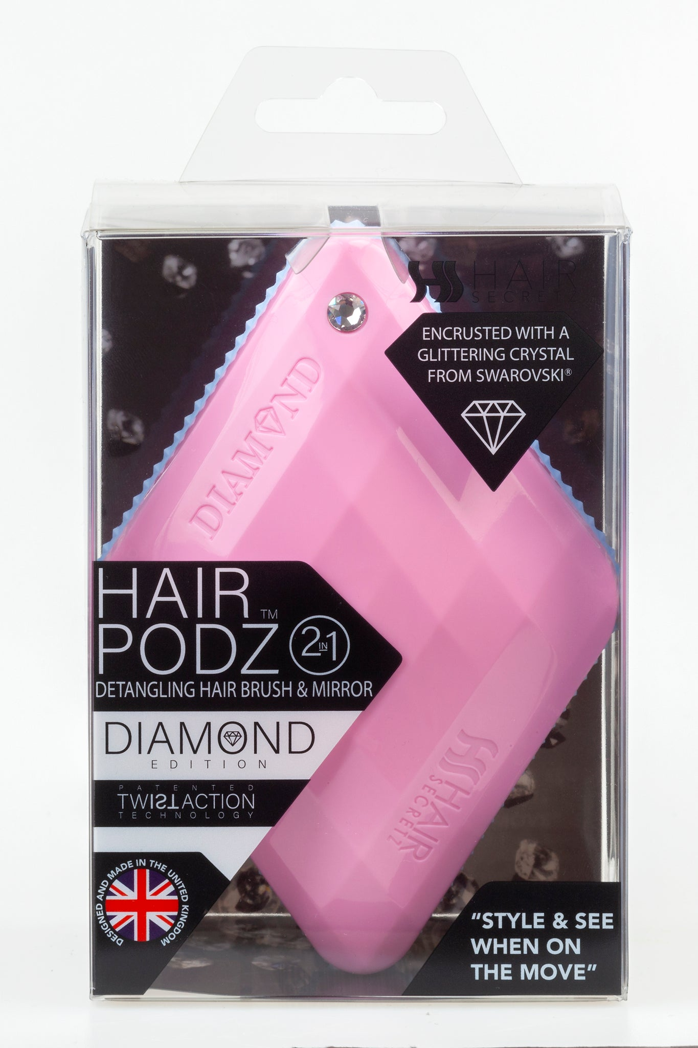 Hair Podz Diamond Brush - Powder Pink