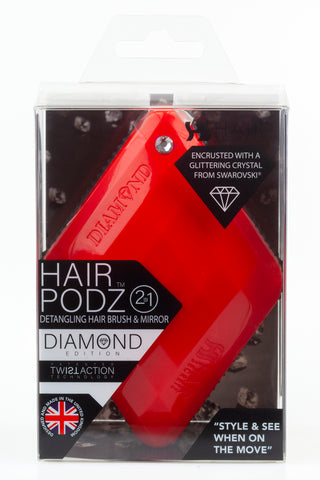 Hair Podz Diamond Brush - Cherry Red
