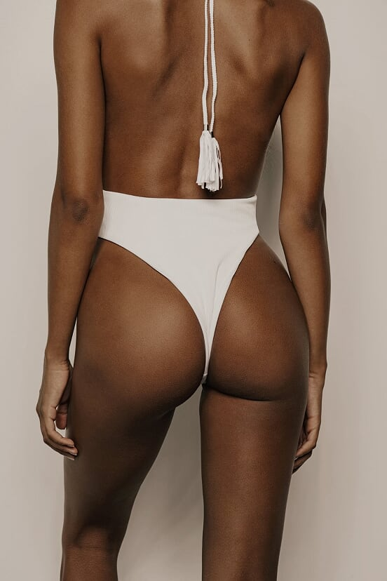 Hendrix One Piece (White Ribbed)