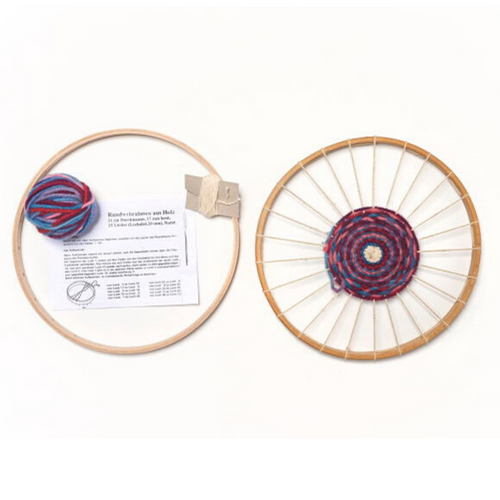 Circular wooden weaving frame with organic plant-dyed wool