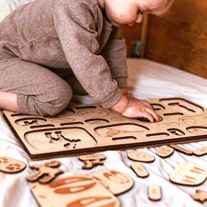 Animal tracks 2-layer wooden puzzle - jiminy eco-toys