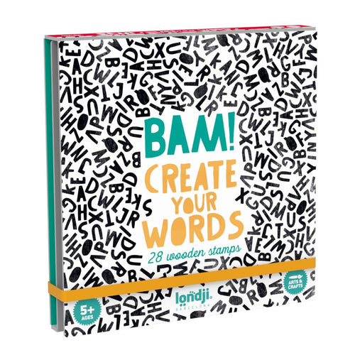 Bam! Stamps and notebook set: Words - jiminy eco-toys