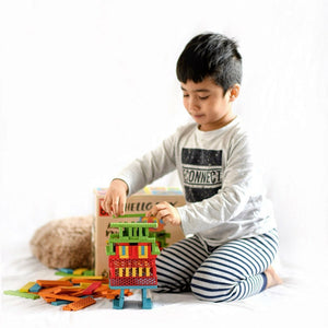 Bioblo eco rainbow construction blocks - 100 blocks rainbow - Hello Box Rainbow Mix - jiminy eco-toys