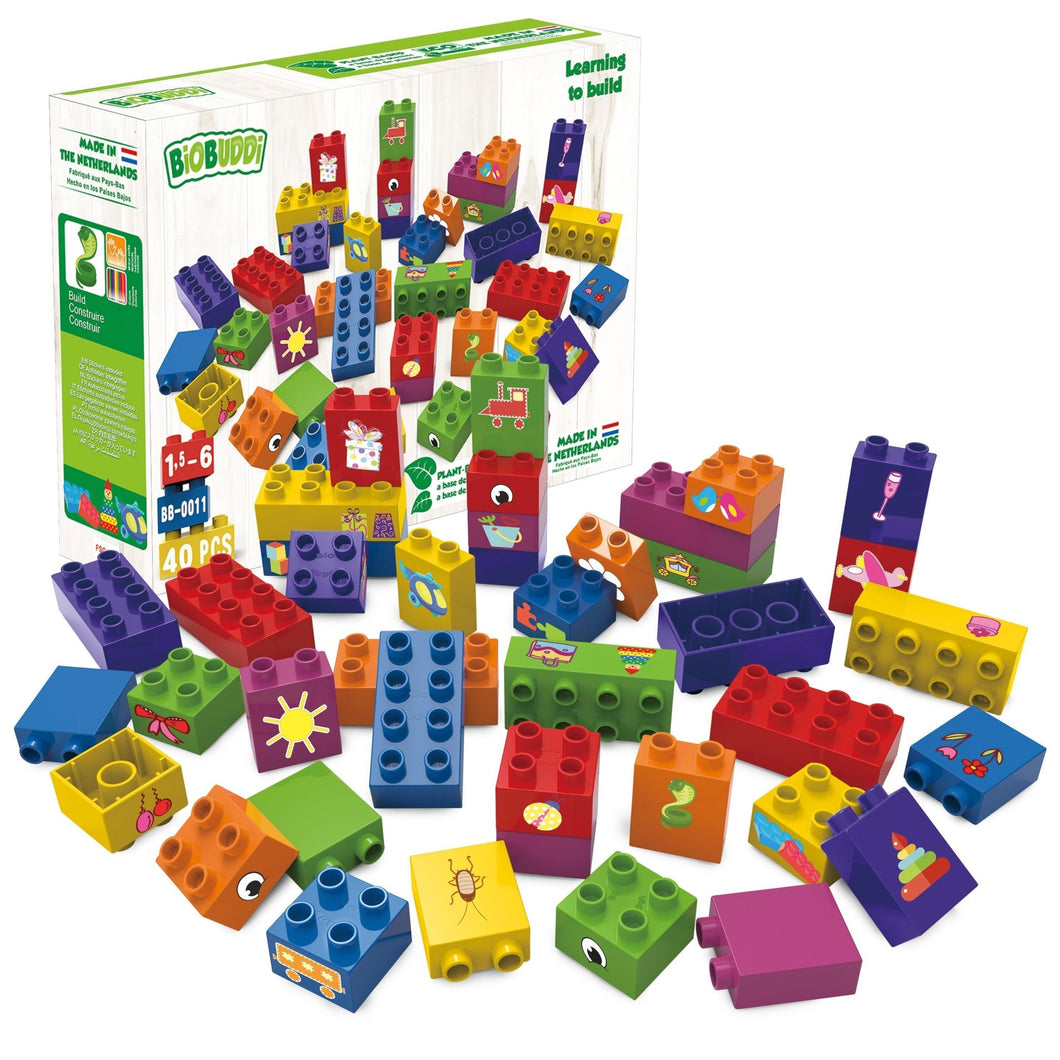 BioBuddi bioplastic building blocks made from plants - jiminy eco-toys
