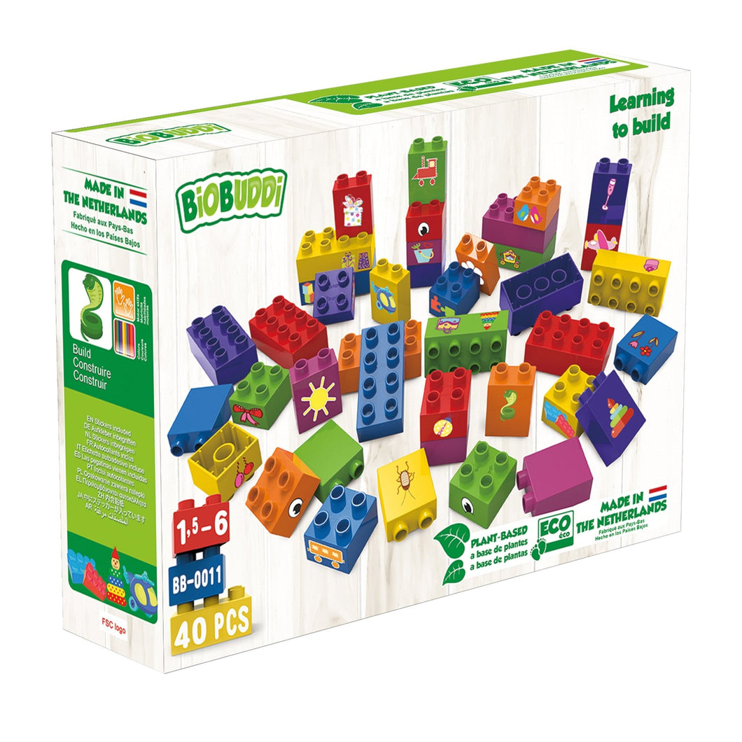 BiOBUDDi building blocks made from plants - universal bricks and base plates - jiminy eco-toys