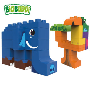 BiOBUDDi Jungle - Elephant and Toucan - bioplastic building blocks from plants - jiminy eco-toys