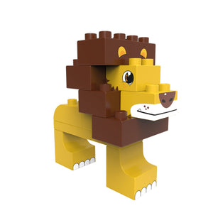 BiOBUDDi Savannah - Lion or Ostrich 2-in-1 - bioplastic building blocks from plants - jiminy eco-toys
