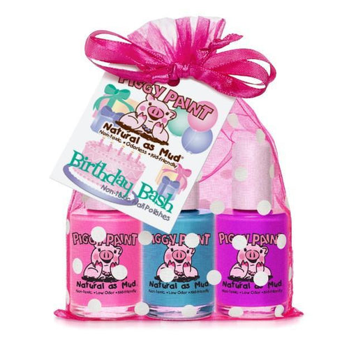 Birthday Bash 3-Piggy-Paints Gift Set (Jazz It Up, Sea-quin, Groovy Grape) - jiminy eco-toys