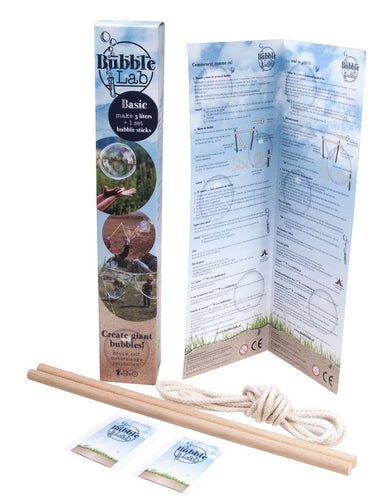 BubbleLab Basic Giant Bubble Kit - 1 wand-and-rope, 5 litres bubblemix - ADD FAIRY LIQUID - jiminy eco-toys