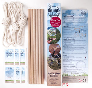 BubbleLab Party Giant bubble Kit - 3 wands-and-ropes, 15 litres bubblemix - ADD FAIRY LIQUID - jiminy eco-toys