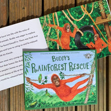 Load image into Gallery viewer, Buddy's Rainforest Rescue: A True Story About Deforestation (paperback book by Ellie Jackson) - jiminy eco-toys