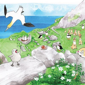 Ca Bhfuil Puifin Beag? Where Are You Puffling? (paperback book in Irish or English by Gerry Daly and Erika McGann) - jiminy eco-toys