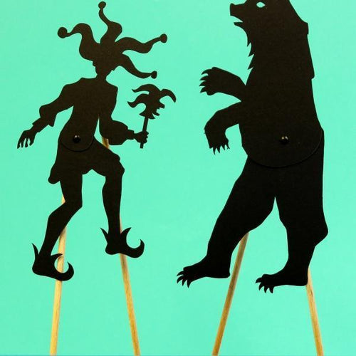 Coco d'en Haut articulated shadows: bear and jester pouch - jiminy eco-toys