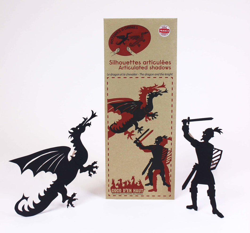 Coco d'en Haut articulated shadows: knight and dragon pouch - jiminy eco-toys