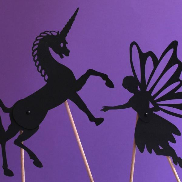 Coco d'en Haut articulated shadows: unicorn and fairy - jiminy eco-toys