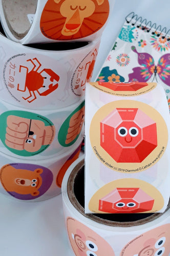 Compostable stickers by Irish illustrators - jiminy eco-toys