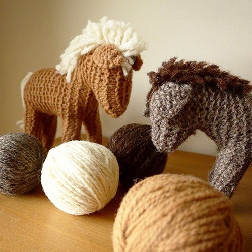 Craft kit: knit a brown horse with organic plant-dyed wool - jiminy eco-toys