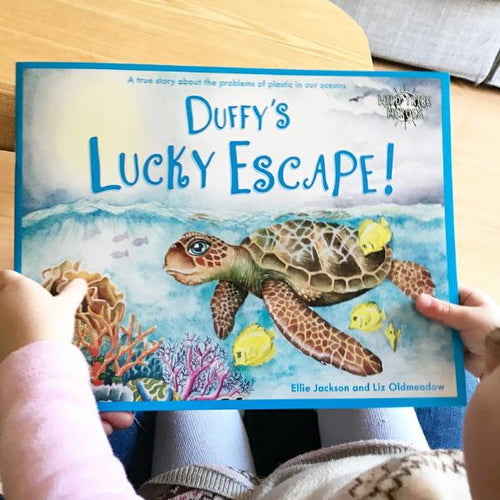 Duffy's Lucky Escape: a True Story About Plastic in Our Oceans, a paperback book by Ellie Jackson - jiminy eco-toys