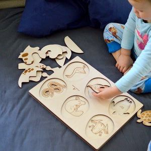 Eggs 2-layer wooden puzzle - jiminy eco-toys